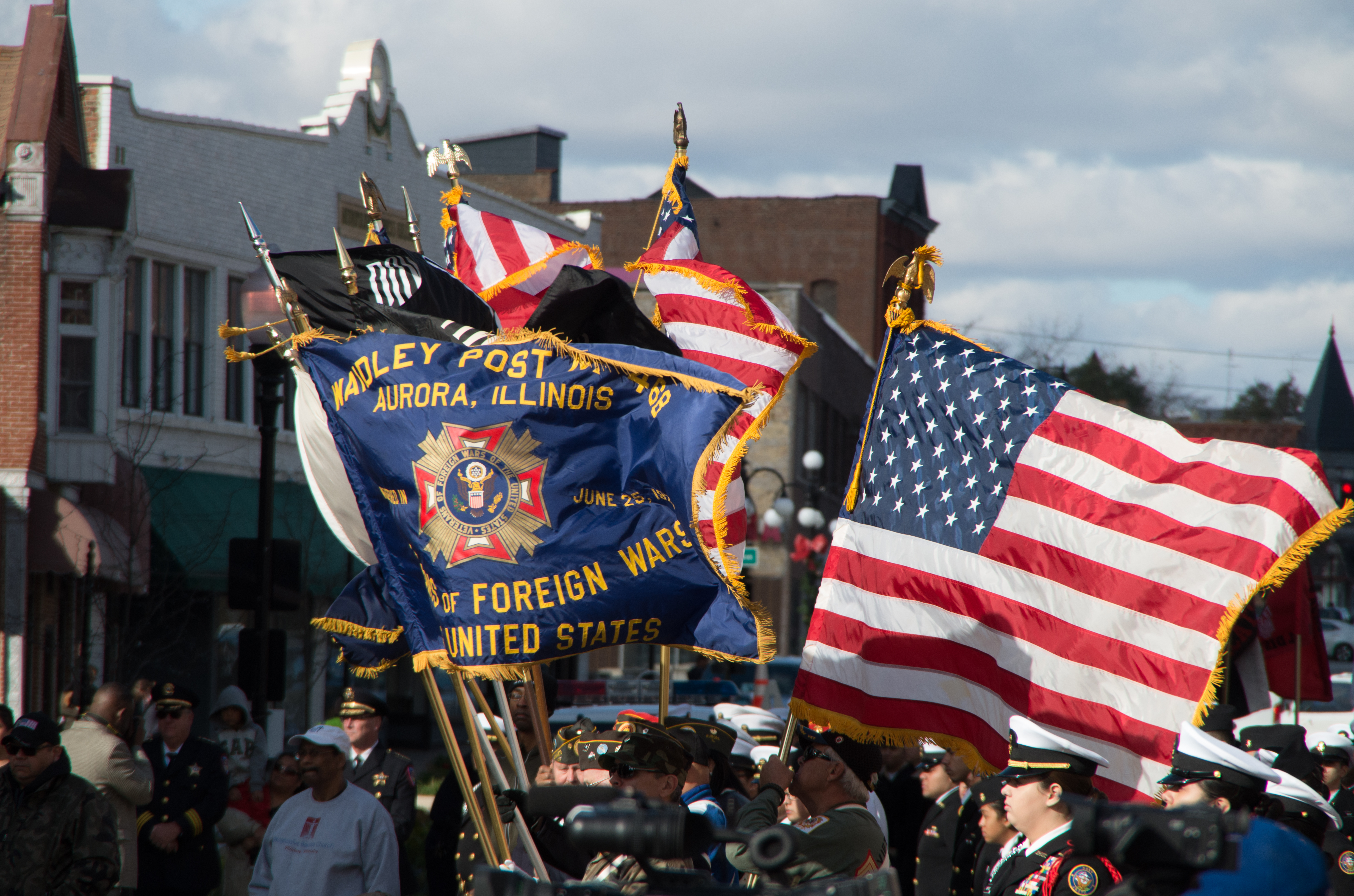 Veterans Day parade in Aurora, Illinois, unknown year. Photo from EnjoyAurora.com.