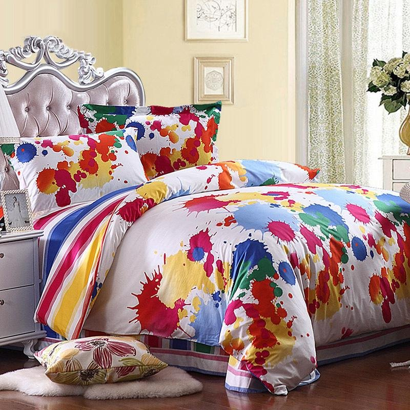 Yellow Red Blue And White Colorful Splatter Paint Bohemian