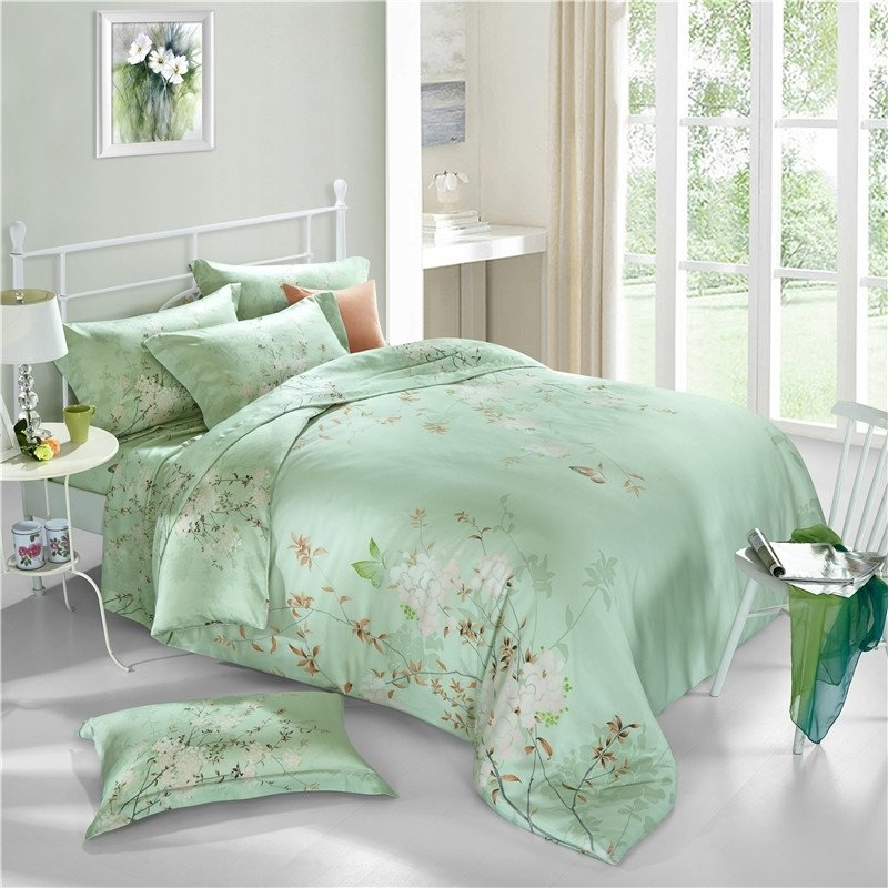 mint green white and rust brown butterfly and beautiful flower print tropical hawaiian luxury soft tencel full queen size bedding sets