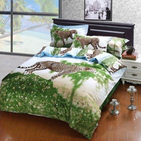 Forest Green White Brown Leopard Print Jungle Safari