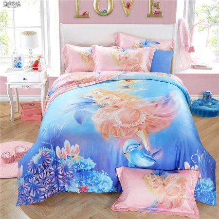 Elegant Girls Ocean Blue And Coral Pink Angel And Dolphin
