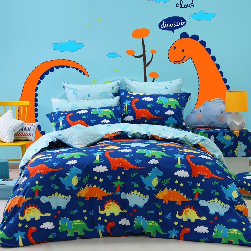 navy blue orange green and yellow dinosaur print jungle animal cartoon themed 100 cotton twin full queen size bedding sets for kids boys