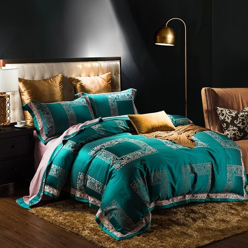 teal green and gold patchwork plaid and tribal print bohemian luxury jacquard satin full queen size bedding sets