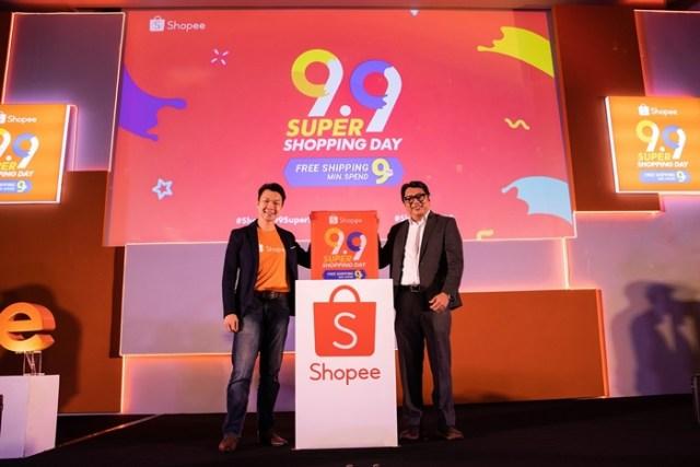Zed Li, Shopee Malaysia业务主管和Song Hock Koon, MDEC电子商务总监在SHOPEE 9.9 超级购物日发表会