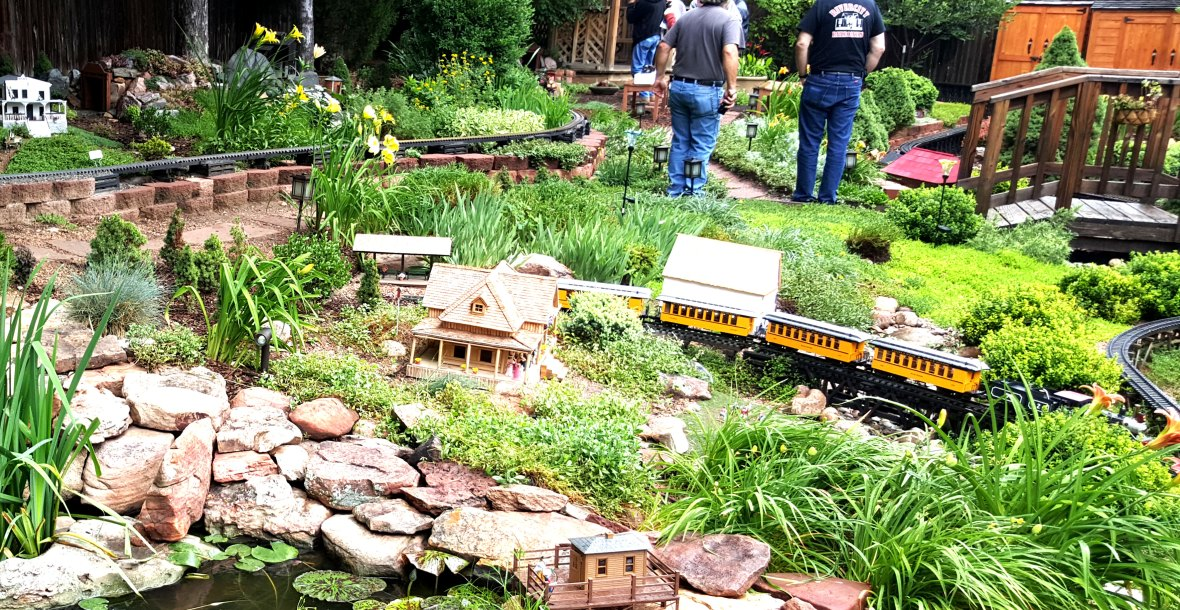 Pond in Garden Railroad Setting with Bridge