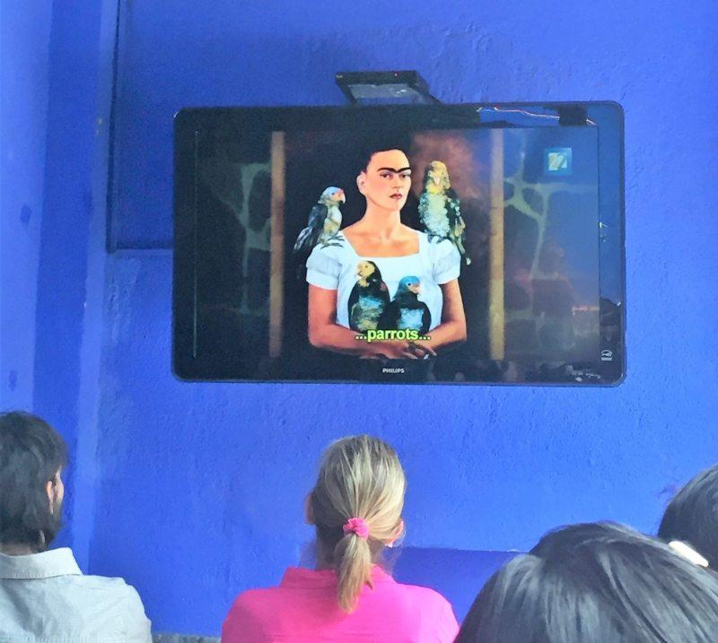 Documentário sobre a vida de Frida é exibido no jardim da Casa Azul.