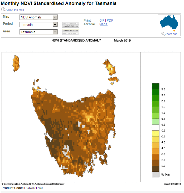 The Tasmanian vegetation index anomaly over one month
