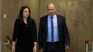 Ministra de Justicia Shaked y Ministro de Educación Bennett que se opusieron a la decisión (Foto: Yonatan Sindel / Flash)
