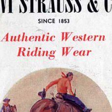 """Década de 1930 VE HACIA EL ESTE, JOVEN Los auténticos """"cowboys"""" vistiendo pantalones vaqueros Levi's® se elevan al estatus de míticos, y esta vestimenta del oeste se convierte en sinónimo de libertad e independencia. Las personas del este que deseaban una auténtica experiencia vaquera se iban a los ranchos del oeste, donde adquirían su primer par de vaqueros Levi's®, que al volver a casa mostraban a sus amigos, y así ayudaron a difundir la influencia del oeste en el resto del país."""