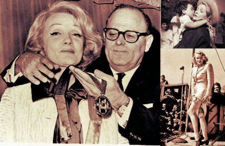 """1960/ Marlene Dietrich, la alemana que dijo """"no"""" a los nazis, fue honrada en Israel"""