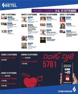 Programación de Actividades en Bet-El del 14 al 20 de septiembre
