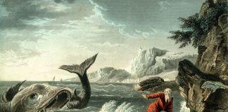 imagen del profeta Yoná con la ballena del relato bíblico
