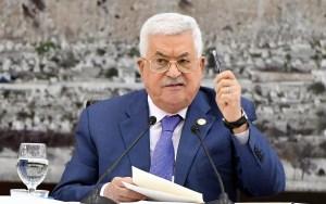 El presidente palestino Mahmoud Abbas durante un discurso en la ciudad de Ramallah