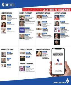 Programa de Actividades de la Comunidad Bet-El del 26 de Octubre al 1° de Noviembre