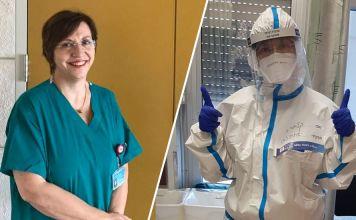 la Lic. en enfermería Claudia Poggi con su uniforme