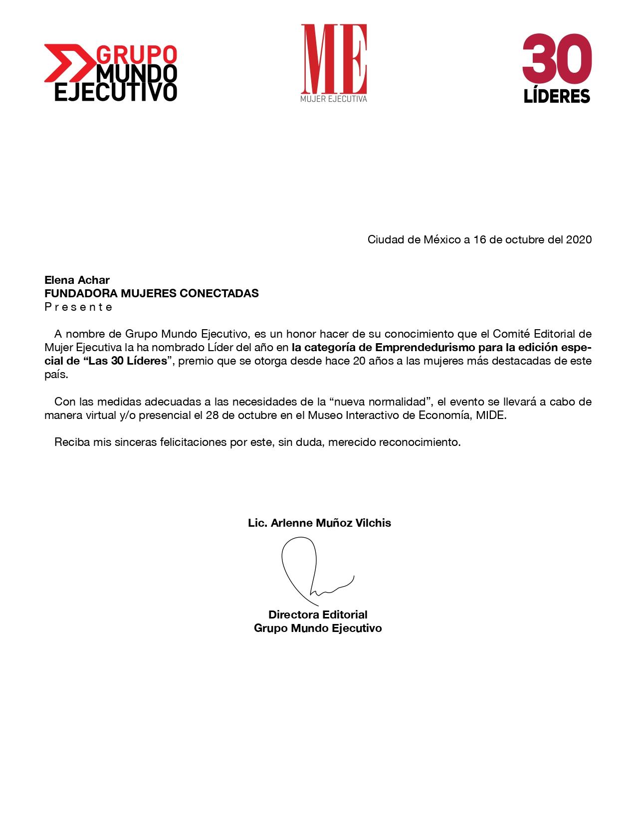 carta de reconocimiento otorgado a Elena Achar Samra por Grupo Mundo ejecutivo