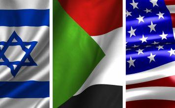 Banderas de Israel, Sudán y Estados Unidos