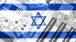 Una bandera de Israel superpuesta a la imagen de un componente tecnológico