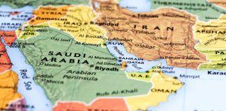 Imagen de la zona del Merio Oriente en un mapa