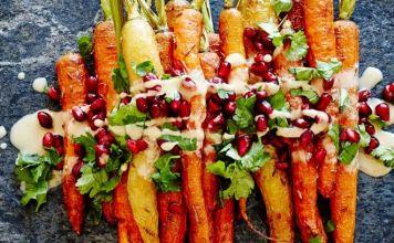 Zanahorias asadas con granada con zumaque