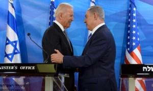Joe Biden y Benjamín Netanyahu durante un encuentro oficial