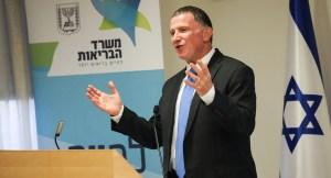 El ministro de Salud de Israel, Yuli Edelstein, en una rueda de prensa