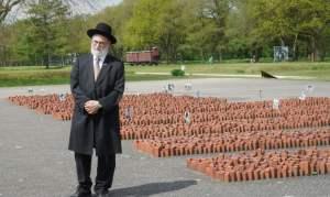 Rabino con barba blanca vestido de negro con sombrero de pie delante de un memorial en una gran explanada en un parque
