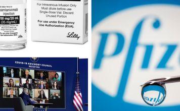 Fotografías del logotipo de Pfizer y una aguja, el tratamiento bamlanivimab para COVID-19 de Eli Lilly, y una fotografía de Joe Biden en un evento