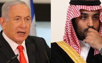 Fotografías de Benjamín Netanyahu y el príncipe saudí Mohammed bin Salman