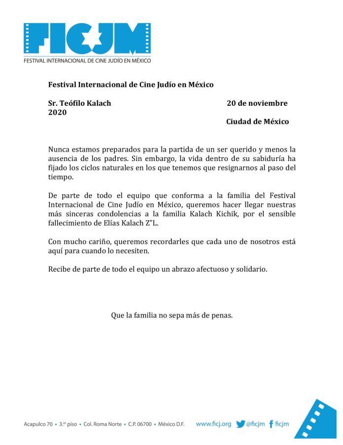 Carta de condolencias del FICJM a la familia de Elías Kalach Alfie