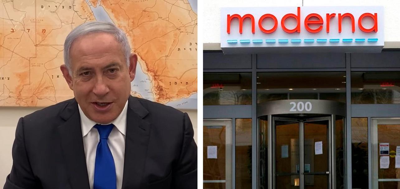 Imágenes de Benjamín Netanyahu, primer ministro de Israel, y de la sede de la compañía Moderna