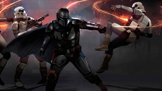 Mandalorian 3 - Mando con un sable se escapa de los stormtroopers mientras ellos caen a mitad de una batalla