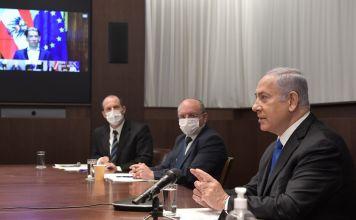 Benjamín Netanyahu durante una videoconferencia