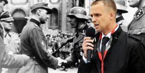 Imagen en color de un hombre hablando con el micrófono en la mano se superpone sobre otra en blanco y negro de militares nazis