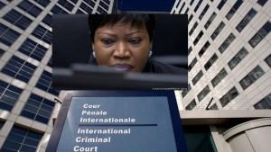 imagen superpuesta del rostro de una mujer de colorante una pantalla de PC sobre fondo de la Corte Penal Internacional