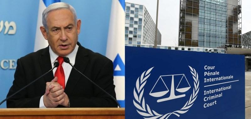 Benjamín Netanyahu y sede de la Corte Penal Internacional