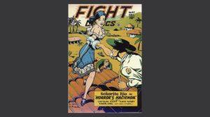 imagen de una tirada de cómic en la que una chica lucha contra un hombre en el campo