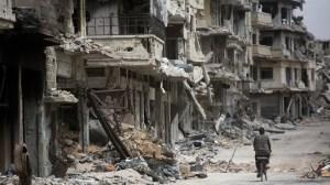 Calle de Siria afectada por la guerra civil