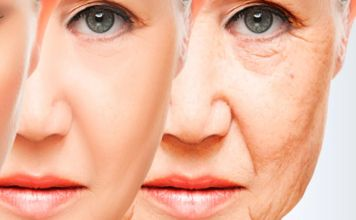 tres caras de mujer en proceso de envejecimiento