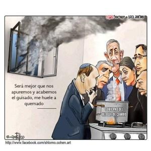 Huele a quemado. Una caricatura de Shlomo Cohén para Israel Hayom.