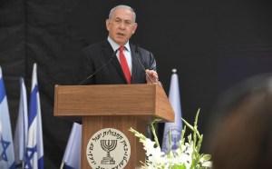 Benjamín Netanyahu en un discurso