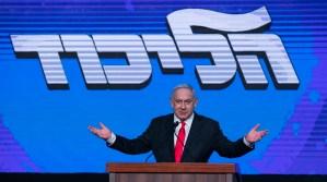 Benjamín Netanyahu en un discurso con partidarios del Likud