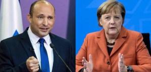 Naftali Bennett y Angela Merkel