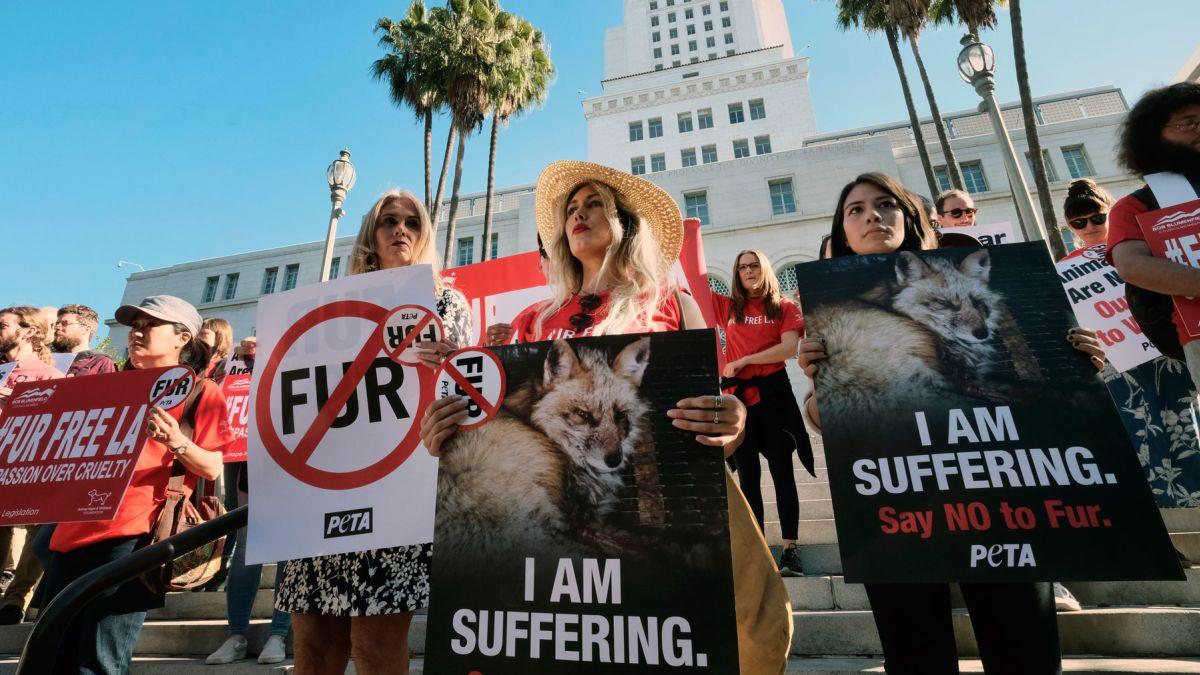 Protesta contra la venta de pieles de animales