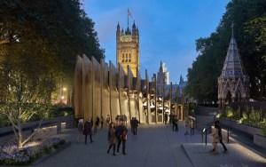 Un modelo virtual del monumento al Holocausto propuesto en Victoria Tower Gardens fuera del Parlamento del Reino Unido