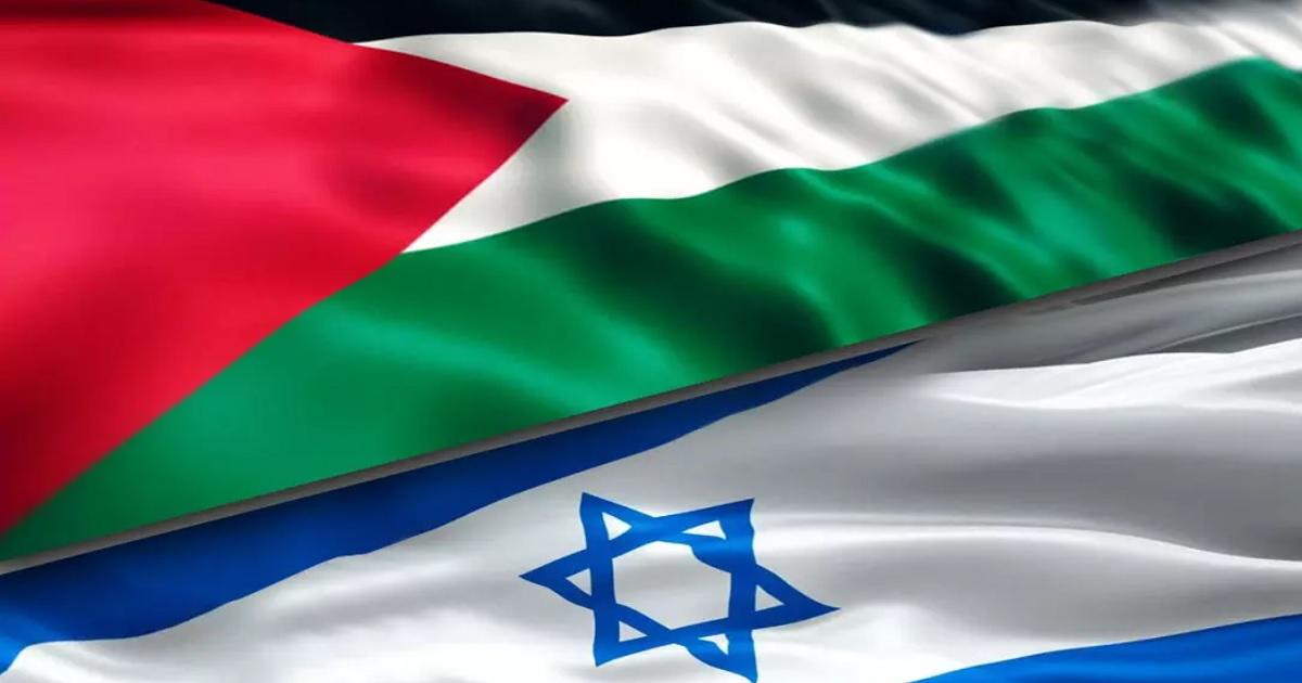 Imagen con las banderas de Israel y Palestina