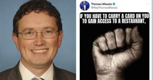 El representante republicano de Kentucky Thomas Massie comparó las medidas de salud pública contra COVID-19 con el Holocausto en Twitter