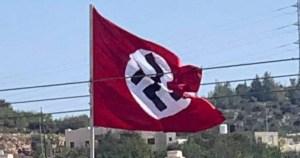 Bandera nazi en Judea y Samaria