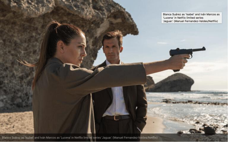 Blanca Suárez como 'Isabel' e Iván Marcos como 'Lucena' en la serie limitada de Netflix 'Jaguar'. (Manuel Fernández-Valdés / Netflix)