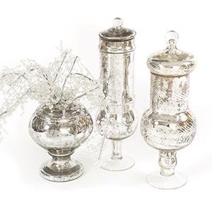 Holiday Home Decor Go Home: Low Antique Mercury Glass jar